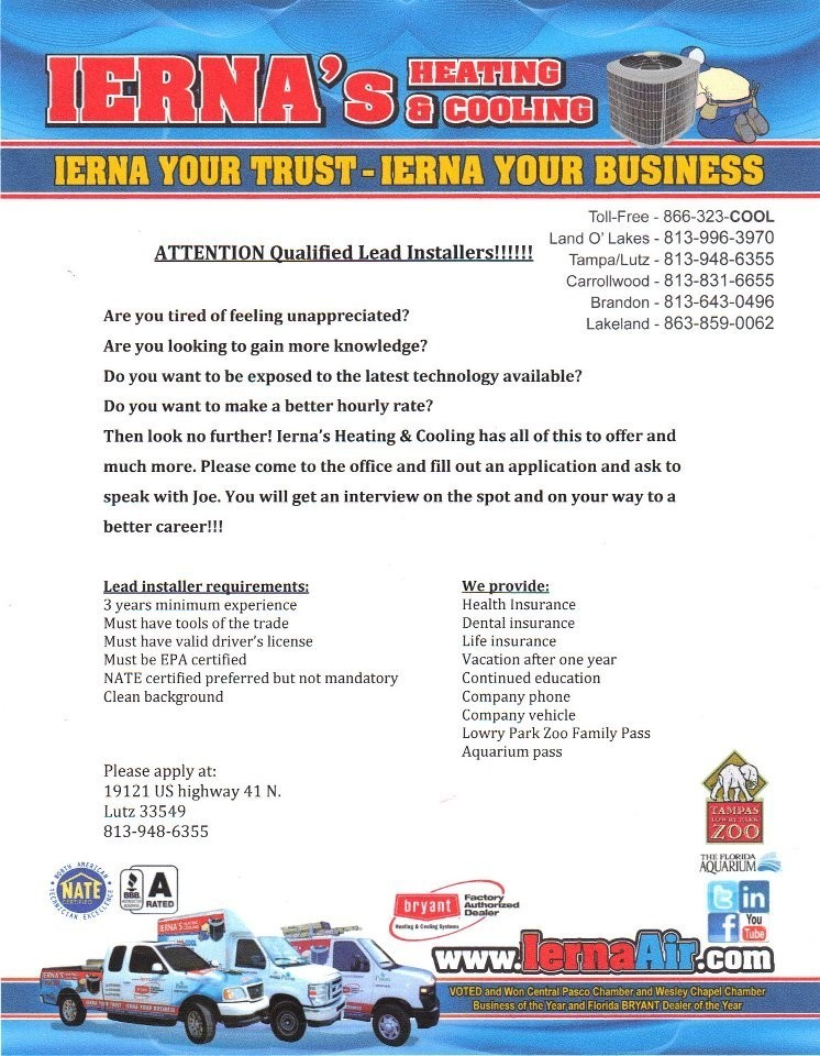 Lead Installer | Lutz | Ierna's Heating and Air Conditioning