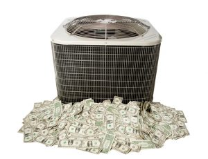 outside ac unit sitting on pile of money, on a white background